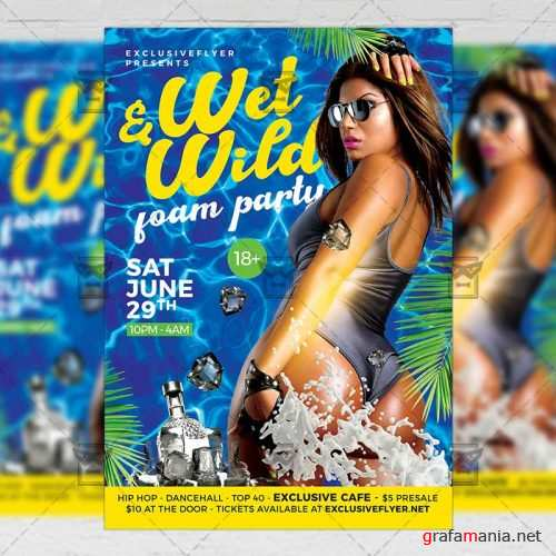 PSD Seasonal A5 Template - Wet and Wild Party