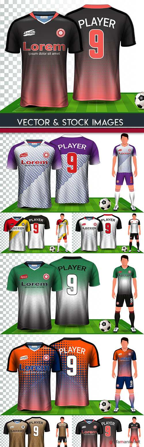 Soccer uniform football player with number mockup design