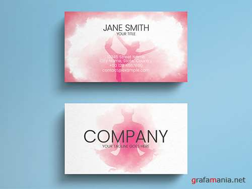 Pink Watercolor Yoga Business Card Layout 271838728 PSDT