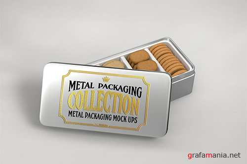 Metal Rectangular Cookie Tin Mockup PSD
