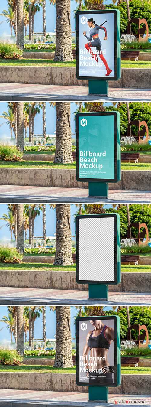 PSDT Outdoor Billboard Advertisement in Beach City Mockup 274306179