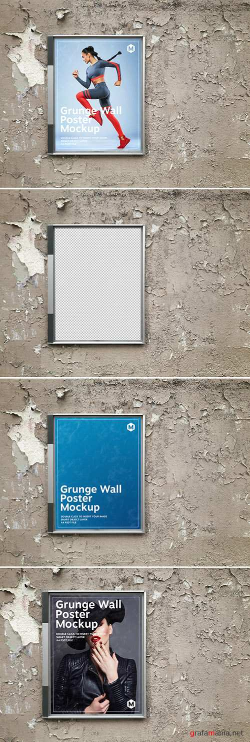 PSDT Billboard Poster on a Grunge Textured Wall Mockup 274306002
