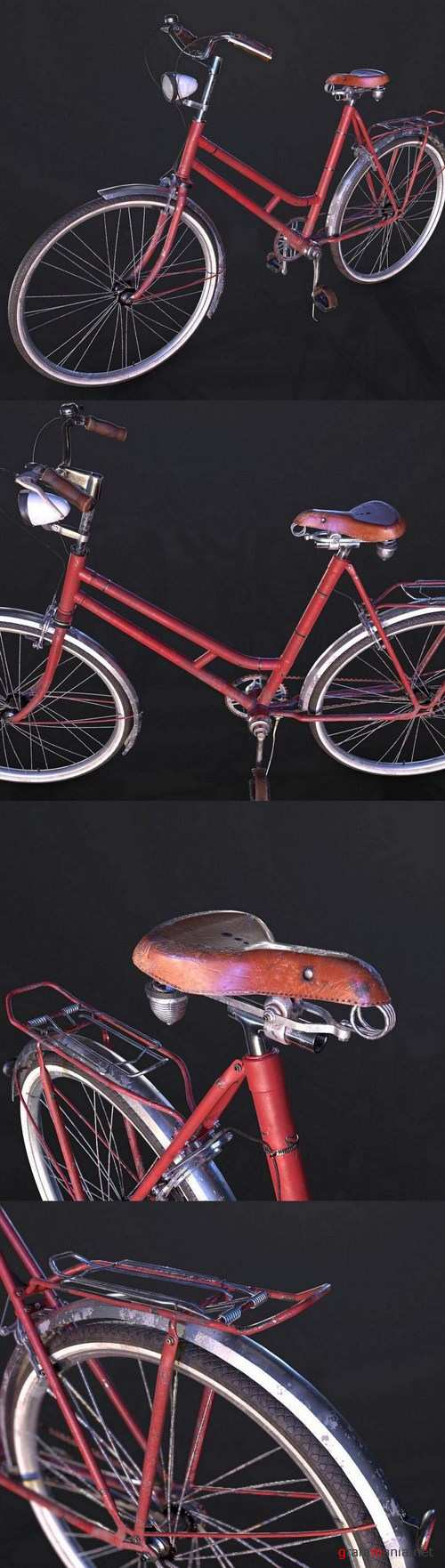 Red Old Used Bicycle – 3D Model