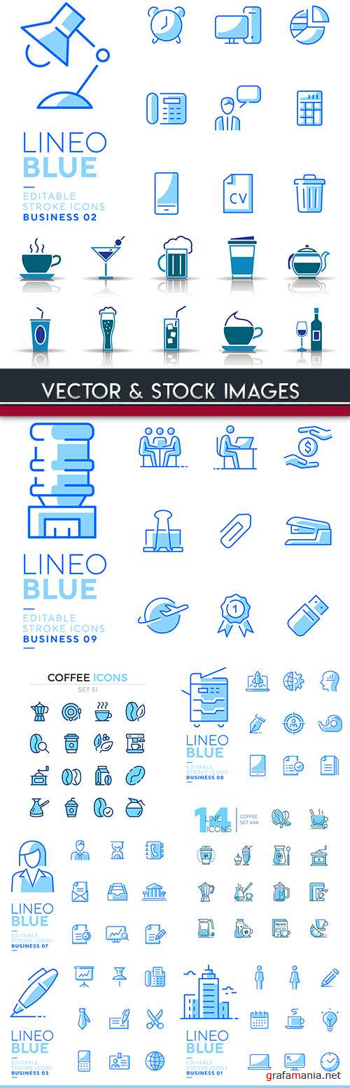 Collection icons lines blue buisiness design 6