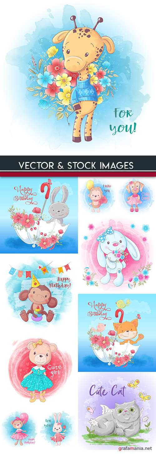 Funny cartoon animals with flowers card illustration