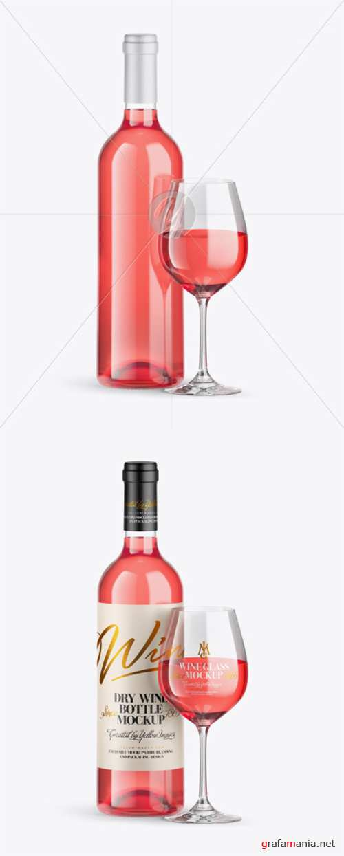 Clear Pink Wine Bottle w/ Glass Mockup 39860 TIF