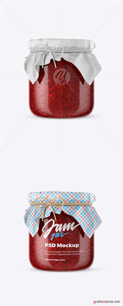 Glass Raspberry Jam Jar w/ Fabric Cap Mockup 39596