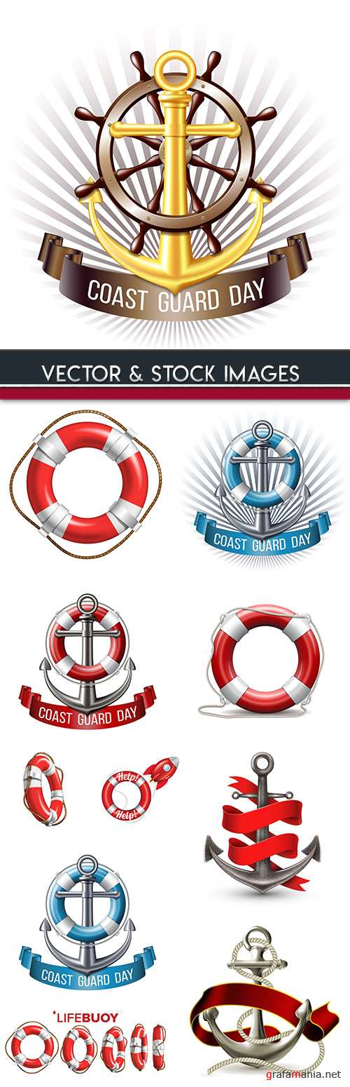 Lifebuoy and anchor with Rope Sea symbol design