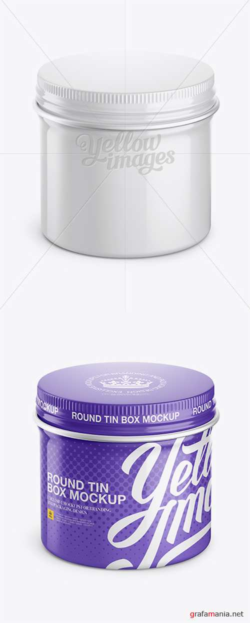 Glossy Round Tin Box Mockup - High-Angle Shot 12656 TIF