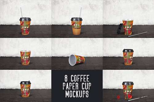 8 Coffee Paper Cup Mockups