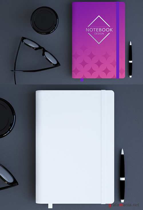 Notebook with Elastic Tie Mockup with Glasses and Cup 263957288 PSDT