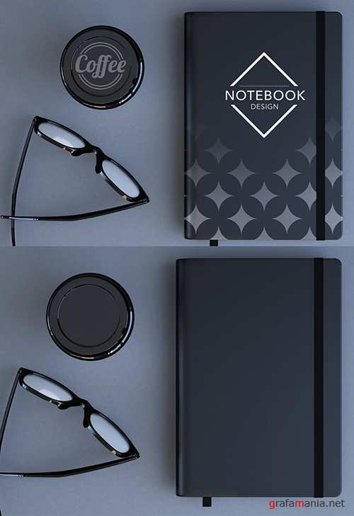 Top View Desk with a Notebook and Coffee Cup Mockup 256664569 PSDT