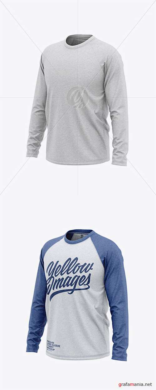 Men's Heather Raglan Long Sleeve T-Shirt Mockup - Front Half Side View 38638 TIF