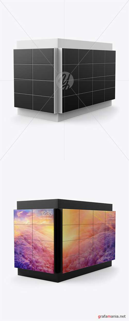 Corner LED Video Wall Mockup - Half Side View 39915 TIF