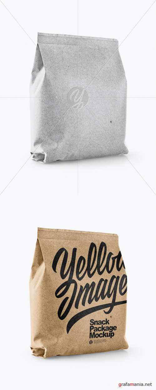 Kraft Snack Package Mockup - Half Side View 28104 TIF
