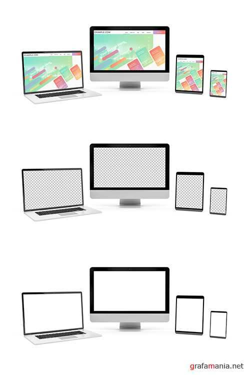 4 Screen Devices on White Background Mockup 253165915 PSDT