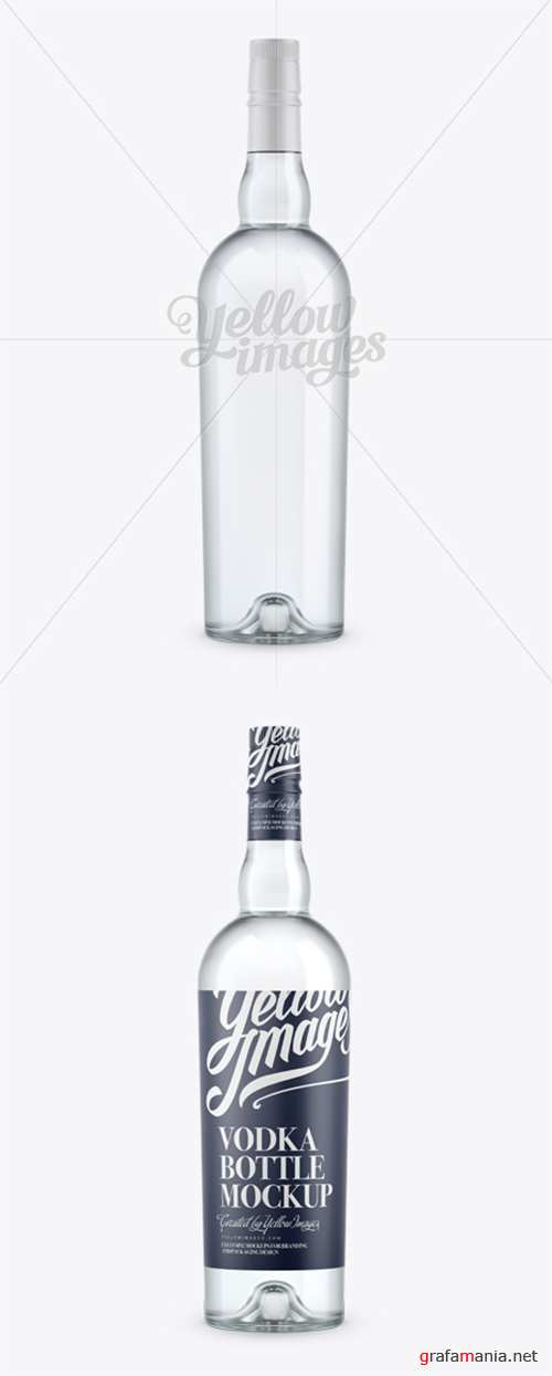 Clear Glass Vodka Bottle Mockup - Front View 12069 TIF