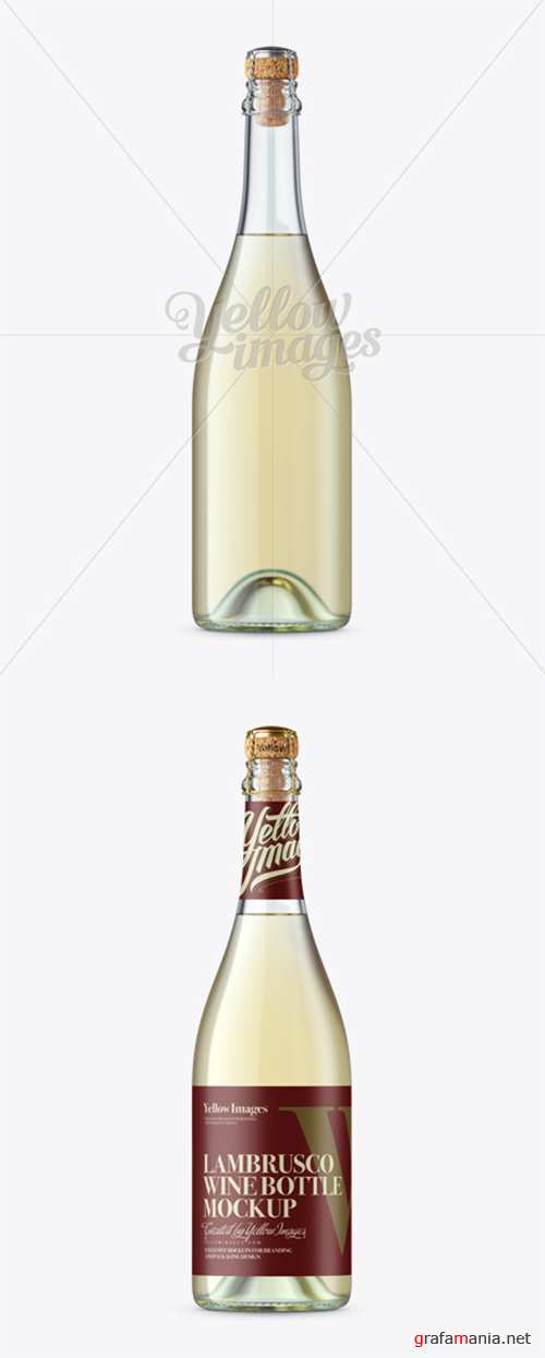 Clear Glass Lambrusco Bottle W/ White Wine Mockup 12438 TIF