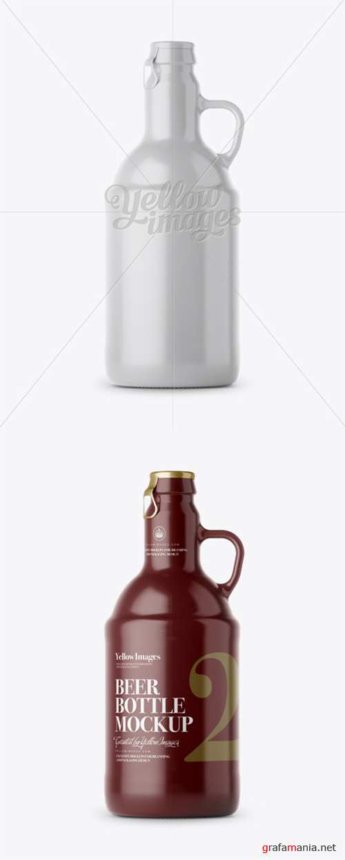 Beer Bottle w/ Handle Mockup - Front View 12687 TIF