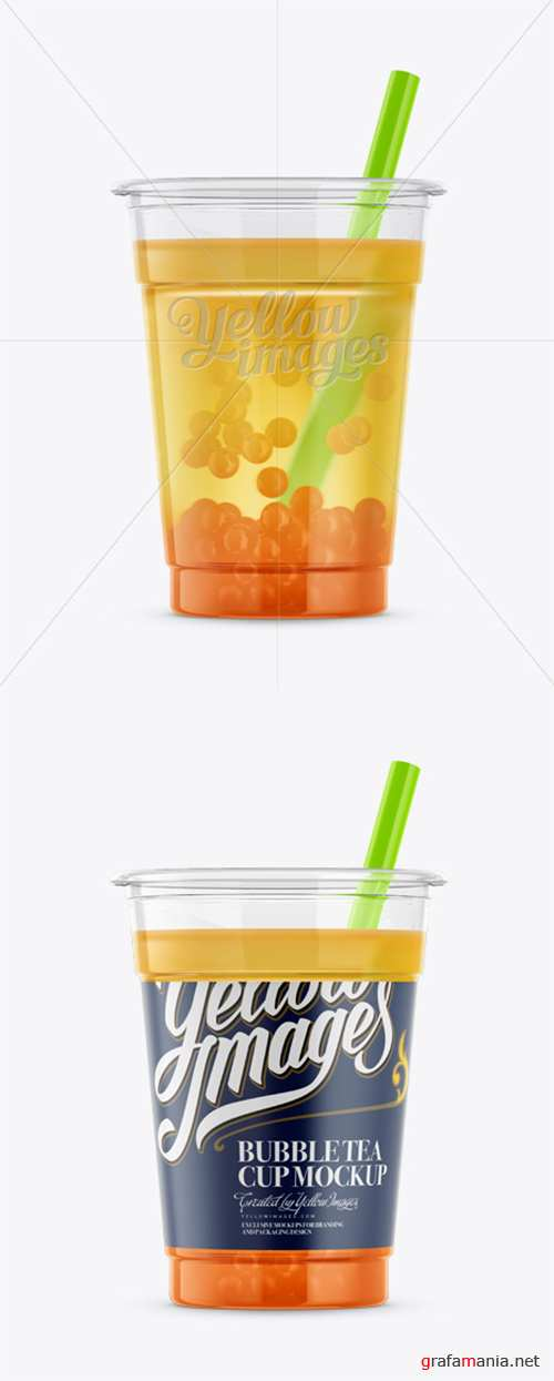 Cup w/ Mango Bubble Tea Mockup 12667 TIF