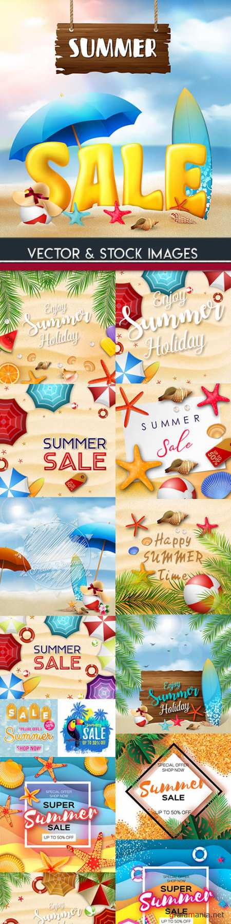 Summer sales and discount holiday banner illustrations 8