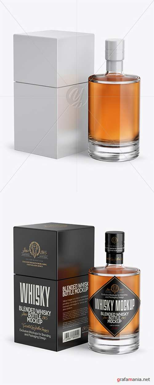 Clear Glass Whiskey Bottle & Box Mockup - Half Side View 21569 TIF