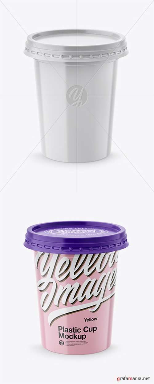 500g Plastic Cup Mockup - Front & Top Views (High-Angle Shot) 27848 TIF