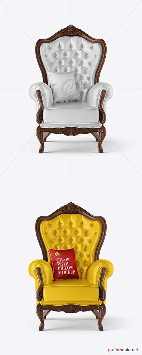 Vintage Chair with Pillow Mockup 36673 TIF