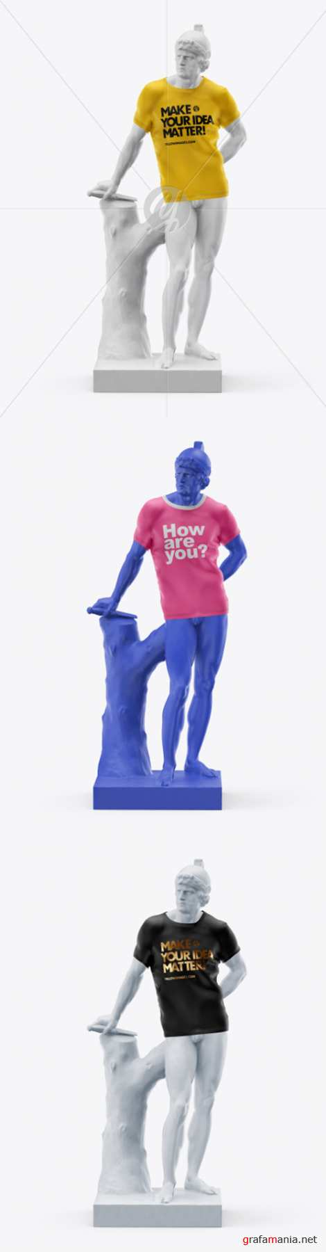 Mans Statue Wearing a T-Shirt Mockup 37034 TIF