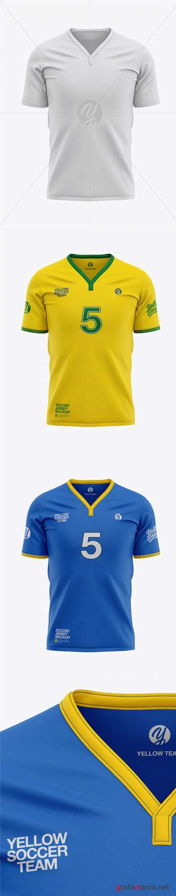 Mens Soccer Y-Neck Jersey Mockup - Front View 37046 TIF