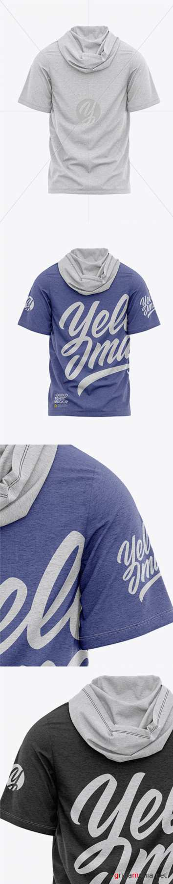 Mens Heather Hooded T-shirt Mockup - Back View 36977 TIF