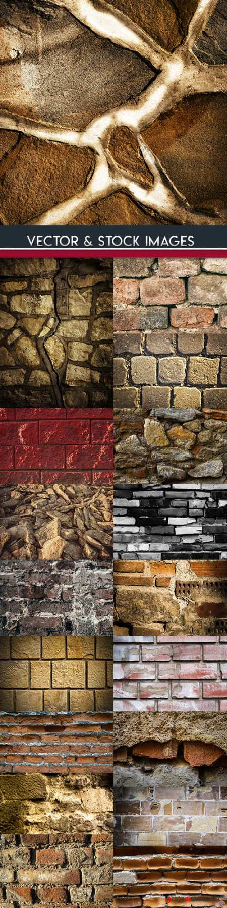 Old brick and stone wall grunge material background