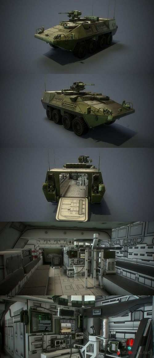 Stryker MCV With Interior – 3D Model
