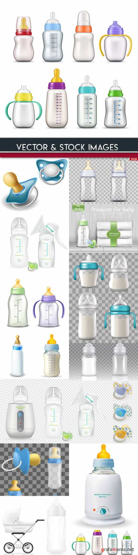 Children's bottle for milk and nipple 3d mockup