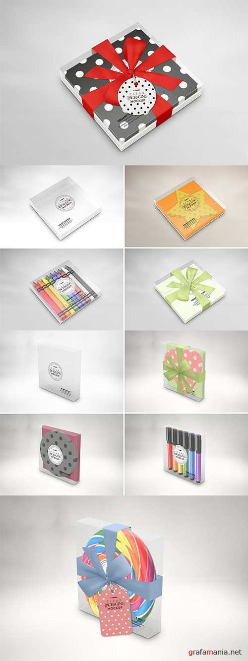 Clear Square Flat Box Packaging Mockup