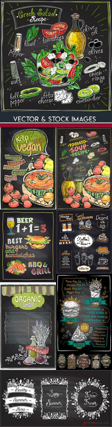 Healthy and useful food menu restaurant design