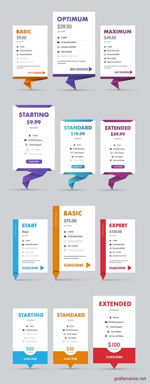 Pricing Table Layout Set 240774105 PSDT