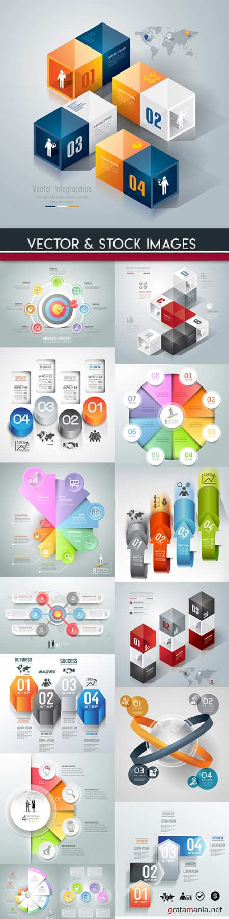 Business infographics options elements collection 84