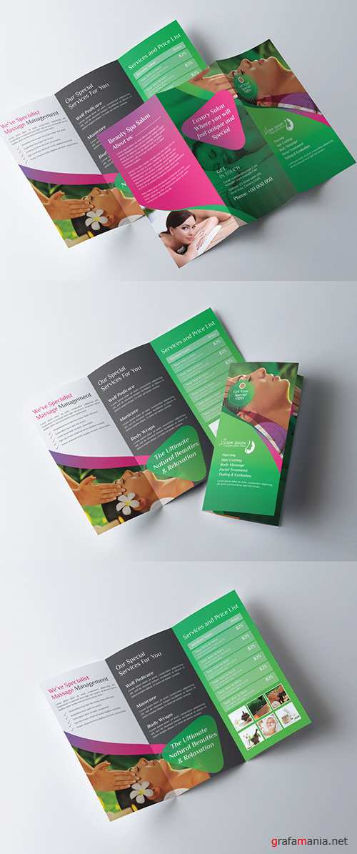 Green Tri Fold Brochure Layout with Pink Accents 278998339 AIT