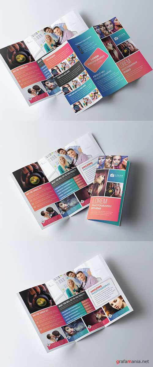 Trifold Brochure Layout with Gradient Color Accents 281868062 AIT
