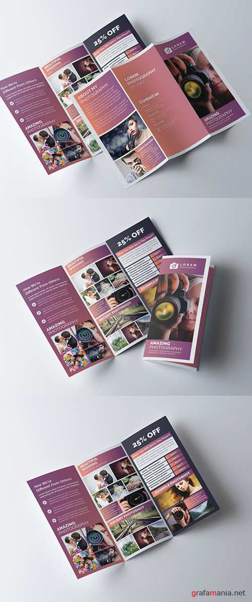 Tri-Fold Brochure Layout with Mauve Gradient Accents 278613798 AIT