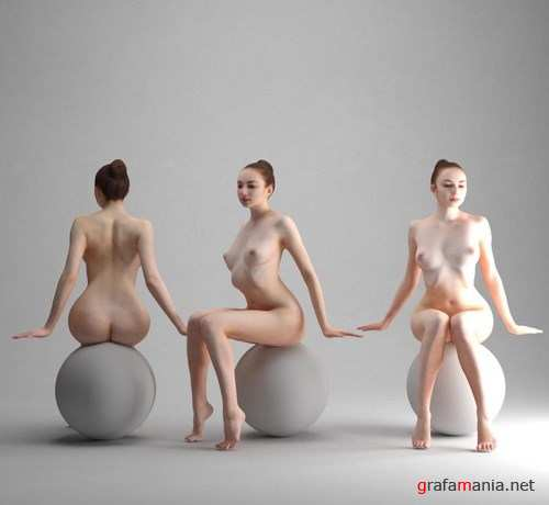 Naked Girl Sitting – Scanned 3D Model