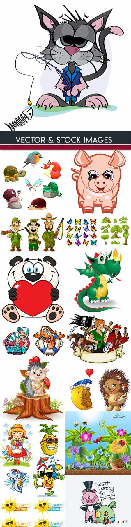 Cartoon amusing characters collection illustrations 6