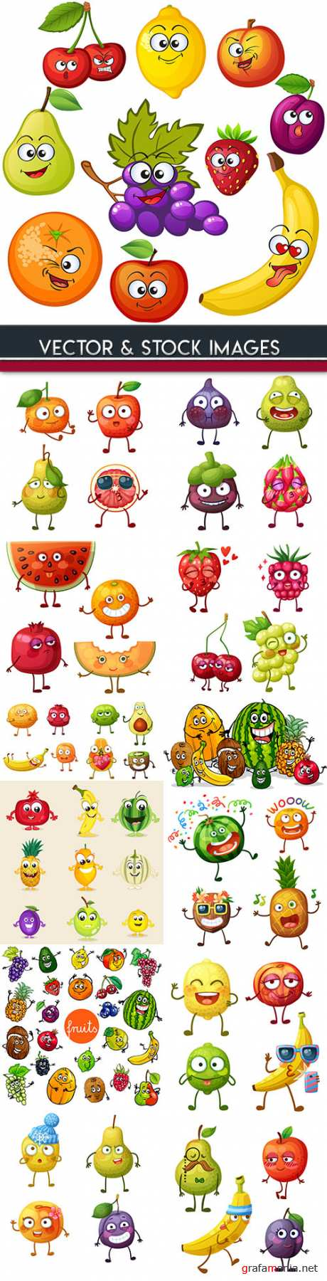 Fruit amusing cheerful cartoon and vegetables
