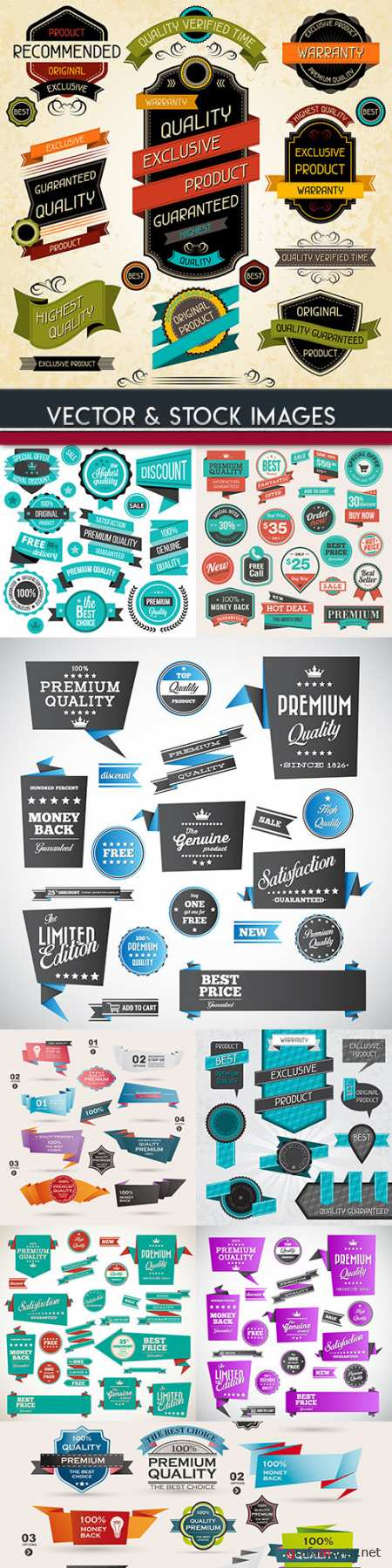 Premium quality golden badges and labels collection 28