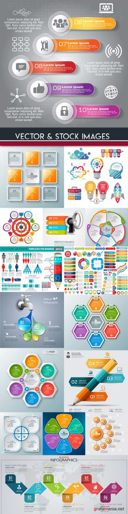 Business infographics options elements collection 87