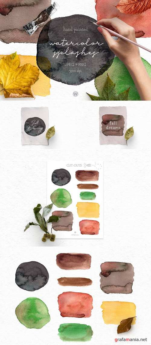 Fall watercolor splashes clipart - 4052623