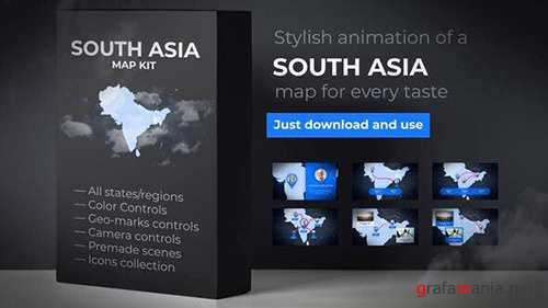 Map of South Asia with Countries - Southern Asia Map Kit 24429949