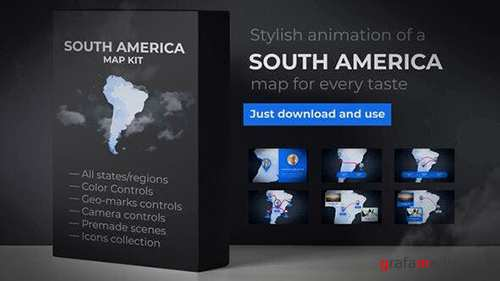 Map of South America with Countries - Southern America Map Kit 24422517