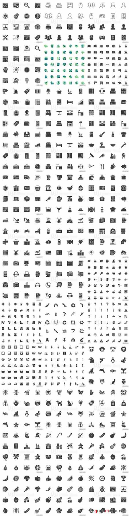Vector Icons - Modern solid symbol collection filled style pictogram pack. Signs logo illustration